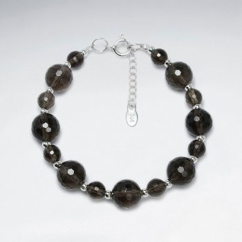 "7"" Round Faceted Smoky Quartz Silver Bracelet"