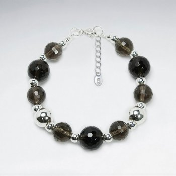 "7"" Round Faceted Smoky Quartz With Round Silver Ball Bracelet"