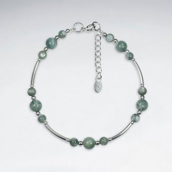 "7"" round Green Agate Silver Bracelet With Silver Tube"