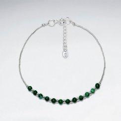 "7"" Round Maracite Silver Bracelet"