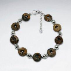 "7"" Round Picture Jasper Silver Bracelet"
