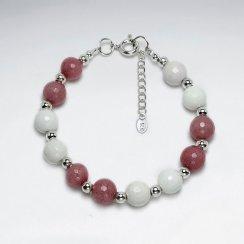 "7"" Round Rhodonite Silver Bracelet"