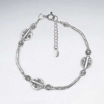 "7"" Silver Bracelet With Antique Disk Bead And Curve Tube"