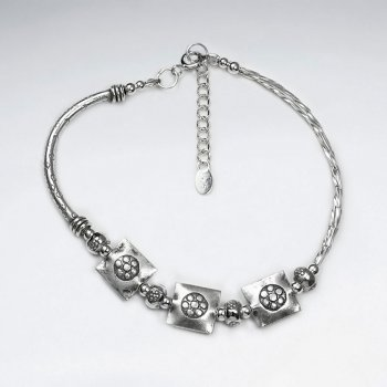 "7"" Silver Bracelet With Antique Round Square Silver Charm And Curve Tube"