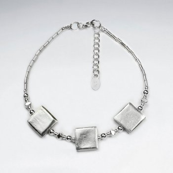 """7"""" Silver Bracelet With Antique Square Silver Charm"""