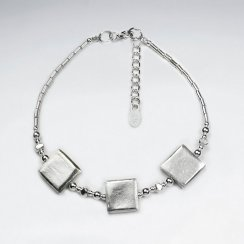 "7"" Silver Bracelet With Antique Square Silver Charm"