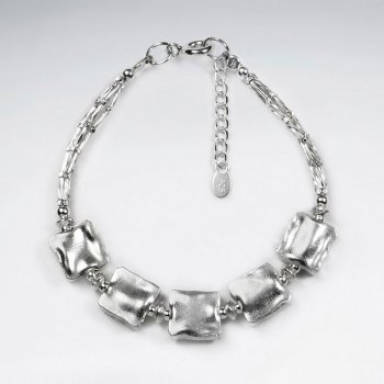 """7"""" Silver Bracelet With Five Antique Square Silver Beads"""