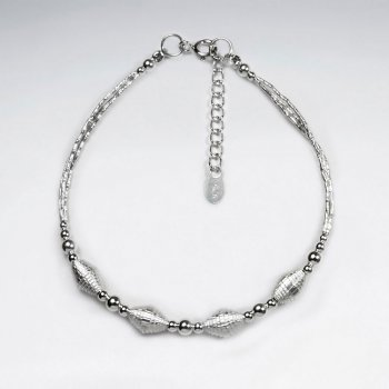 "7"" Silver Bracelet With Four Antique Oval Silver Beads"