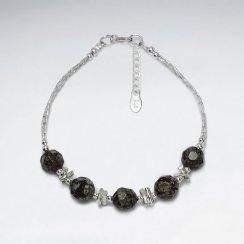 "7"" Silver Bracelet With Four Faceted Leopard Jasper"