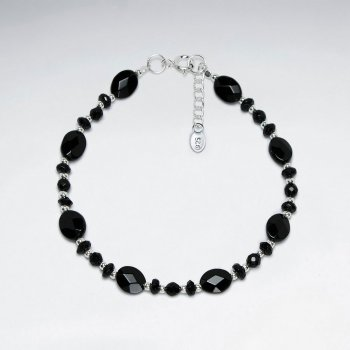 "7"" Silver Bracelet With Oval Faceted Black Stone And Nugget Beads"