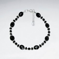 """7"""" Silver Bracelet With Oval Faceted Black Stone And Nugget Beads"""