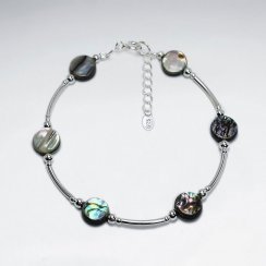 "7"" Silver Bracelet With Pawa Disk"