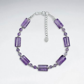 "7"" Silver Bracelet With Rectangle Amethyst"