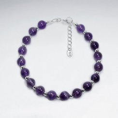 "7"" Silver Bracelet With Round Amethyst Stone"