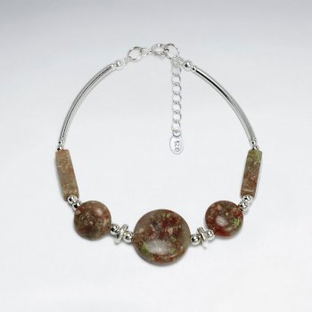 "7"" Silver Bracelet With Round and Tube Unakite"
