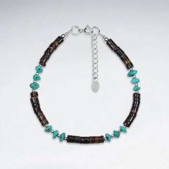 "7"" Silver Bracelet With Shell And Turquoise"