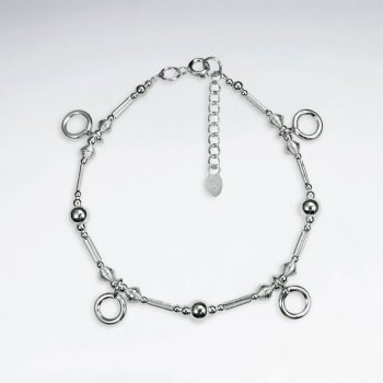 "7""Silver Bracelet With Small Open Circle Charms"