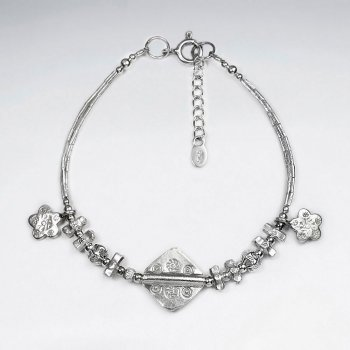 """7"""" Silver Bracelet With Square And Antique Sakura Silver Charm"""
