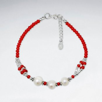 "7"" Silver Bracelet With Triple Pearls And Red Glass Bead"