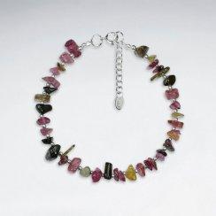 "7"" Single Strands Tourmaline Nugget Silver Bracelet"
