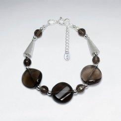 "7"" Smoky Quartz Silver Bracelet With Cone Silver Bead"