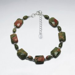 "7"" Square Faceted Unakite Silver Bracelet"