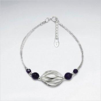 """7"""" Sterling Silver Open Shell Clasp Bracelet"""