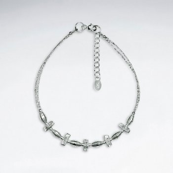 "7"" Thai Delicate Handmade Silver Chain with Petite Accent Charms"