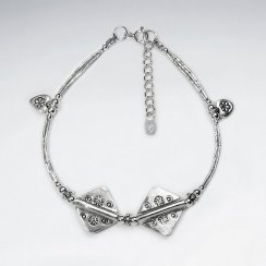 "7"" Thai Hand Made Silver Bracelet With Double Square Charm"