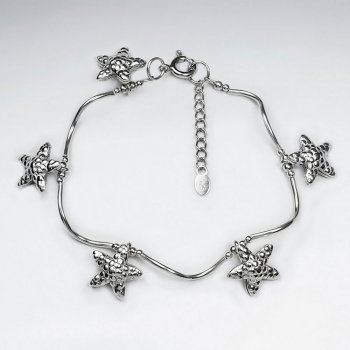 "7"" Thai Hand Made Silver Bracelet With Starfish Silver Charm And Wavy Silver Tube"