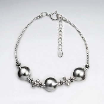 """7"""" Thai Hand Made Silver Bracelet With Triple Round Charm"""