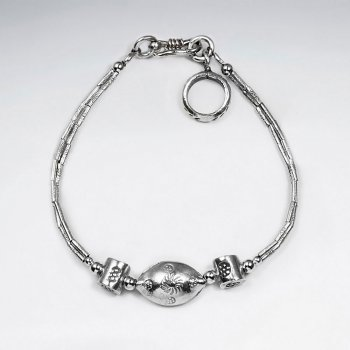 """7"""" Thai Handcrafted Ornamented Silver Bracelet with Delicate Oval Charm and Accent Features"""
