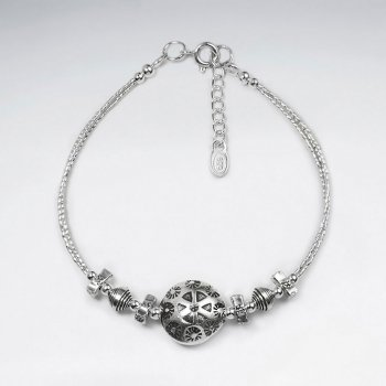 "7"" Thai Handcrafted Silver Bracelet with Silver Circular and Accent Charms"