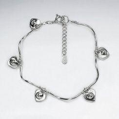 "7"" Thai Handmade Dangle Drop Charm Silver Bracelet With Spacers"