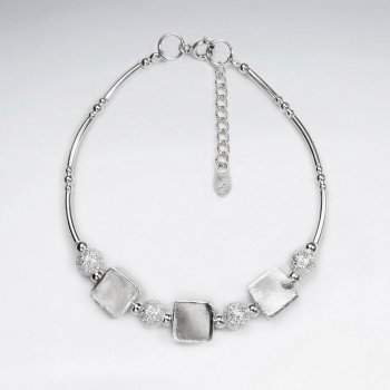 """7"""" Thai Handmade Delicate Silver Adjustable Clasp Bracelet Featuring Pattern Round and Square Charms"""