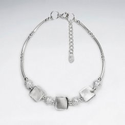 "7"" Thai Handmade Delicate Silver Adjustable Clasp Bracelet Featuring Pattern Round and Square Charms"