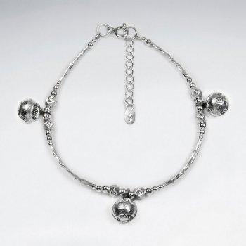 """7"""" Thai Handmade Delicate Silver Ball Charm Bracelet"""