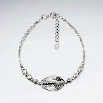 "7"" Thai Handmade Delicate Silver Oval Twist Charm Bracelet"