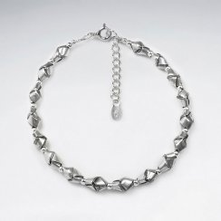 "7"" Thai Handmade Faceted Silver Bullion Charm Bracelet"