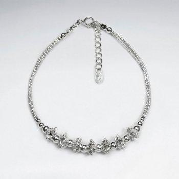 "7"" Thai Handmade Pleated Charm Silver Chain Adjustable Clasp Bracelet"