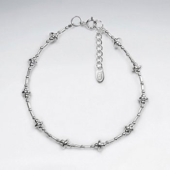 "7"" Thai Handmade Silver Bracelet Featuring Delicate Spaced Charms"