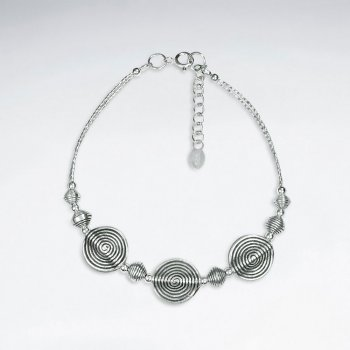 "7"" Thai Handmade Silver Bracelet With Triple Oval Twist  Charm"