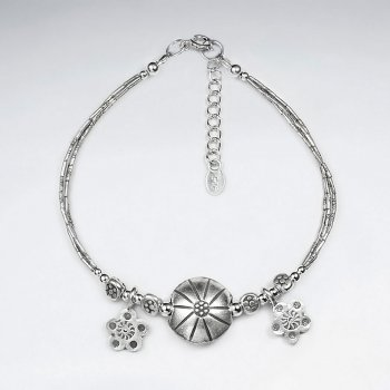 """7"""" Thai Handmade Silver Chain with Circle Charm and Stunning Drop Pendants"""