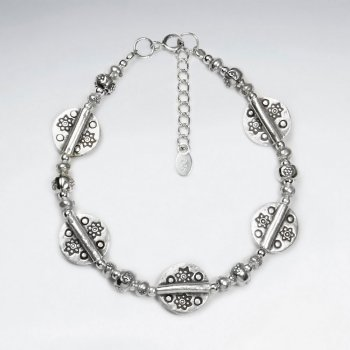 "7"" Thai Handmade Silver Chain with  Decorative Leaf Accent Charms"