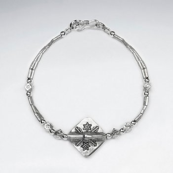 "7"" Thai Handmade Silver Square Charm Handmade Clasp Bracelet"