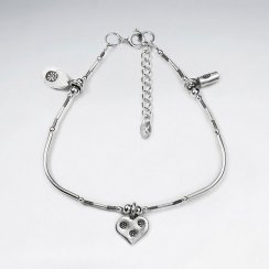 "7"" Thai Handmade Sterling Silver Accented Charm Bracelet"
