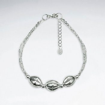 "7"" Thai Handmade Sterling Silver Triple Bead Charm Bracelet"