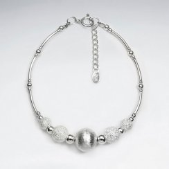 "7"" Thai Handmade Stunning White and Silver Accent Triple Charm Adjustable Clasp Bracelet"