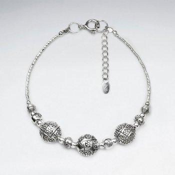 "7"" Thai Handmade Triple Charm Silver Adjustable Clasp Bracelet"