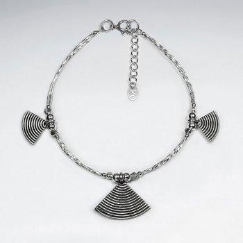 """7"""" Thai Handmade Triple Fan Charm Silver Bracelet"""